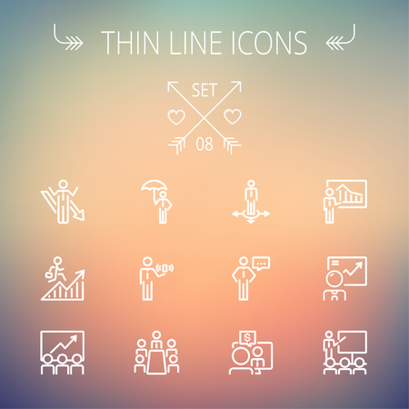 Business thin line icon set for web and mobile. Set includes- people, wifi, arrows, money, umbrella icons. Modern minimalistic flat design. Vector white icon on gradient mesh background. Vector