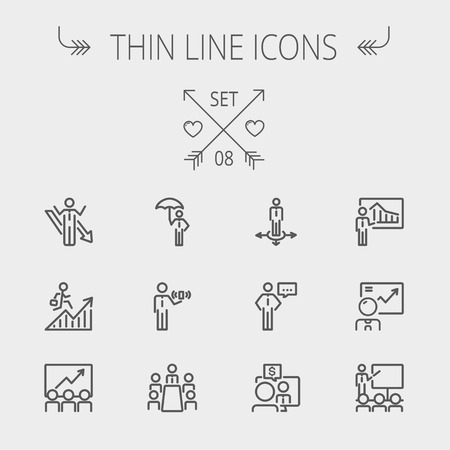 Business thin line icon set for web and mobile. Set includes- people, wifi, arrows, money, umbrella icons. Modern minimalistic flat design. Vector dark grey icon on light grey background. Vector