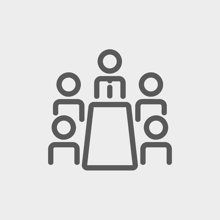 Business meeting in office icon thin line for web and mobile, modern minimalistic flat design. Vector dark grey icon on light grey background. Çizim
