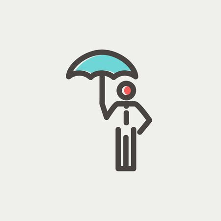 walking away: Man with umbrella icon thin line for web and mobile, modern minimalistic flat design. Vector icon with dark grey outline and offset colour on light grey background. Illustration