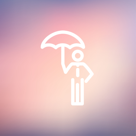looking away: Man with umbrella icon thin line for web and mobile, modern minimalistic flat design. Vector white icon on gradient mesh background. Illustration