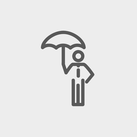 walking away: Man with umbrella icon thin line for web and mobile, modern minimalistic flat design. Vector dark grey icon on light grey background.