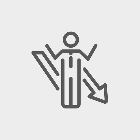 helpless: Man with arrow down icon thin line for web and mobile, modern minimalistic flat design. Vector dark grey icon on light grey background.
