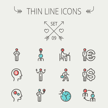 thin bulb: Business thin line icon set for web and mobile. Set includes-head, Euro, US dollar, clock, head, laptop, bulb icons. Modern minimalistic flat design. Vector icon with dark grey outline and offset colour on light grey background.