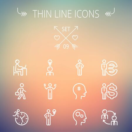 thin bulb: Business thin line icon set for web and mobile. Set includes-head, Euro, US dollar, clock, head, laptop, bulb  icons. Modern minimalistic flat design. Vector white icon on gradient mesh background.