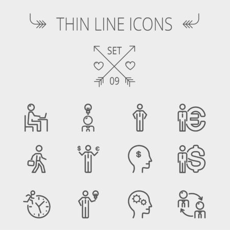 thin bulb: Business thin line icon set for web and mobile. Set includes-head, Euro, US dollar, clock, head, laptop, bulb icons. Modern minimalistic flat design. Vector dark grey icon on light grey background. Illustration