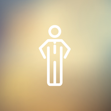 standing in line: Man standing idea icon thin line for web and mobile, modern minimalistic flat design. Vector white icon on gradient mesh background.
