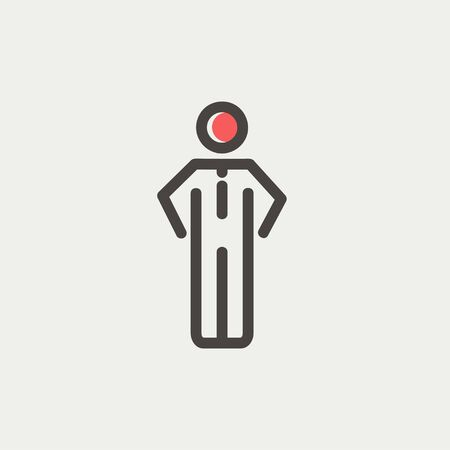 Man standing icon thin line for web and mobile, modern minimalistic flat design. Vector icon with dark grey outline and offset colour on light grey background. Illustration