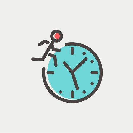 time fly: Man running on time icon thin line for web and mobile, modern minimalistic flat design. Vector icon with dark grey outline and offset colour on light grey background.