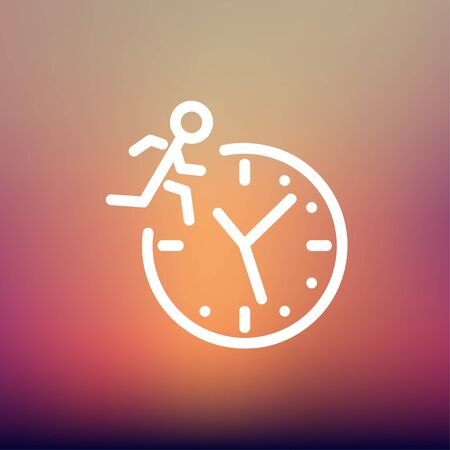 time fly: Man running on time icon thin line for web and mobile, modern minimalistic flat design. Vector white icon on gradient mesh background.