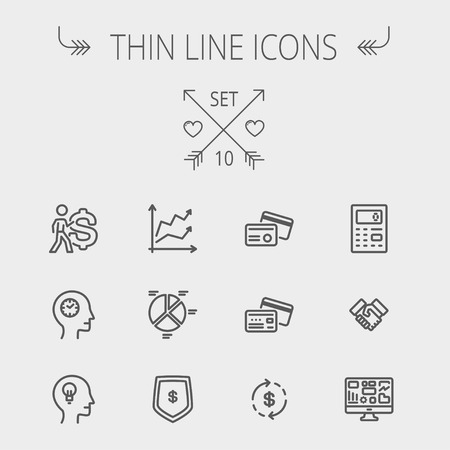 calculator: Business thin line icon set for web and mobile. Set includes- graph, chart, pie graph, dollar symbol, cards, handshake, calculator, monitor icons. Modern minimalistic flat design. Vector dark grey icon on light grey background.
