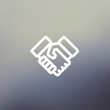 icon: Handshake icon thin line for web and mobile, modern minimalistic flat design. Vector white icon on gradient mesh background.