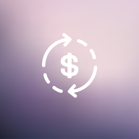 refresh rate: Money dollar symbol with arrow icon thin line for web and mobile, modern minimalistic flat design. Vector white icon on gradient mesh background. Illustration