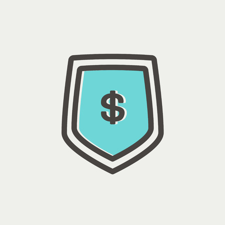 jeans pocket: Jeans pocket with dollar symbol icon thin line for web and mobile, modern minimalistic flat design. Vector icon with dark grey outline and offset colour on light grey background.