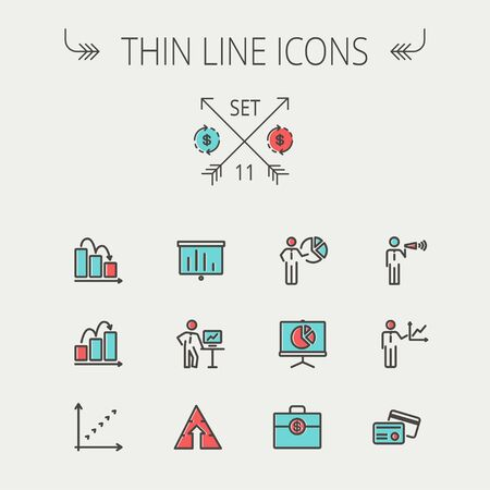 financial targets: Business thin line icon set for web and mobile. Set includes- recycle, money bag, graph, roller screen, business presentation, pie chart icons. Modern minimalistic flat design. Vector icon with dark grey outline and offset colour on light grey background