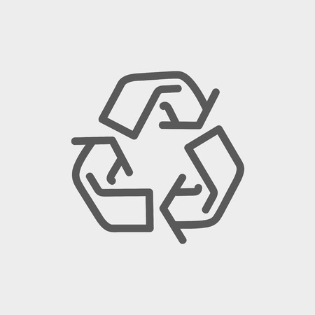 Recycle symbol icon thin line for web and mobile, modern minimalistic flat design. Vector dark grey icon on light grey background.