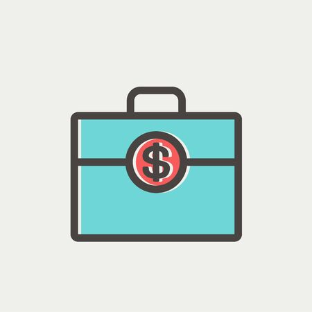 Money suitcase icon thin line for web and mobile, modern minimalistic flat design. Vector icon with dark grey outline and offset colour on light grey background. Vector