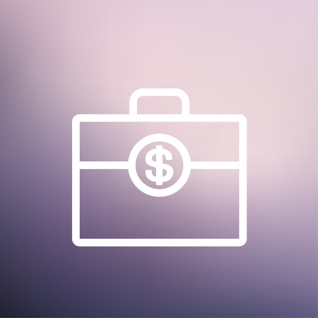 office theft: Money suitcase icon thin line for web and mobile, modern minimalistic flat design. Vector white icon on gradient mesh background.