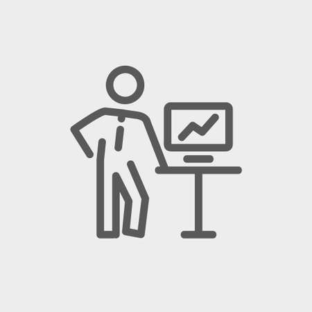 person shined: Business presentation icon thin line for web and mobile, modern minimalistic flat design. Vector dark grey icon on light grey background. Illustration