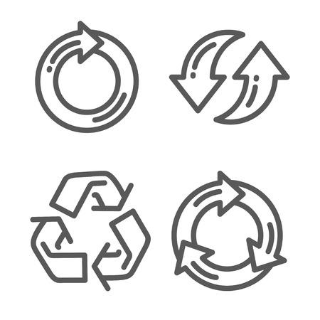 ciclo del agua: Conjunto de icono de la flecha de reciclaje línea delgada para web y móvil, diseño plano minimalista moderno. Vector icono de color gris oscuro sobre fondo gris claro.