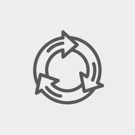 Arrow circle icon thin line for web and mobile, modern minimalistic flat design. Vector dark grey icon on light grey background. Illustration