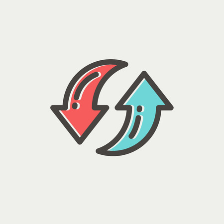 Pair of arrow thin line for web and mobile, modern minimalistic flat design. Vector icon with dark grey outline and offset colour on light grey background.