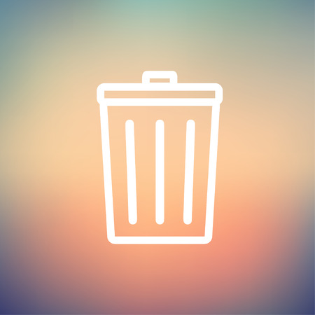 Trash can icon thin line for web and mobile, modern minimalistic flat design. Vector white icon on gradient mesh background. Illustration