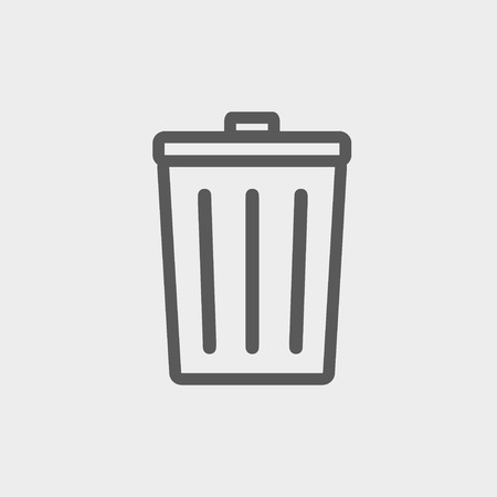 Trash can icon thin line for web and mobile, modern minimalistic flat design. Vector dark grey icon on light grey background. Illustration