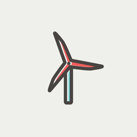 windfarm: Linea sottile Windmill icona per il web e mobile, moderno design piatto minimalista. Icona di vettore con contorno grigio scuro e di colore di offset su sfondo grigio chiaro.
