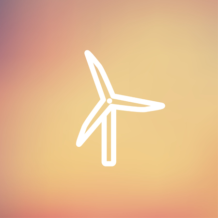 Windmill icon thin line for web and mobile, modern minimalistic flat design. Vector white icon on gradient mesh background.