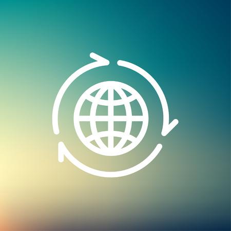 wereldbol: Globe met pijl rond icoon dunne lijn voor het web en mobiel, modern minimalistisch plat design. Vector wit pictogram op verloopnet achtergrond. Stock Illustratie