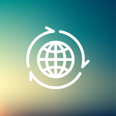 Globe with arrow around icon thin line for web and mobile, modern minimalistic flat design. Vector white icon on gradient mesh background.