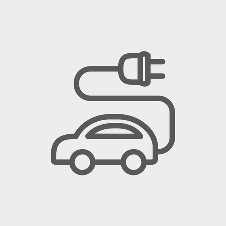 Electric car icon thin line for web and mobile, modern minimalistic flat design. Vector dark grey icon on light grey background.