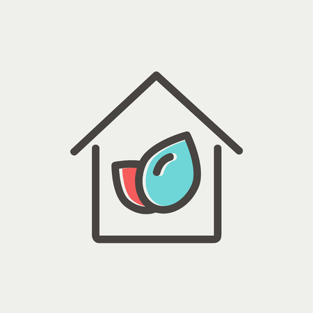 Leaf house icon thin line for web and mobile, modern minimalistic flat design. Vector icon with dark grey outline and offset colour on light grey background. Ilustrace