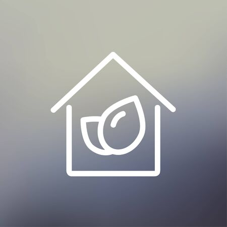 natural arch: Leaf house icon thin line for web and mobile, modern minimalistic flat design. Vector white icon on gradient mesh background. Illustration