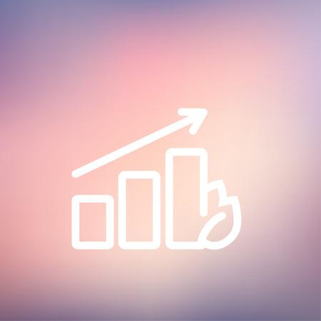 perspectiva lineal: Creciendo icono gr�fico de l�nea delgada para web y m�vil, dise�o plano minimalista moderno. Vector icono blanco sobre fondo de malla de degradado.