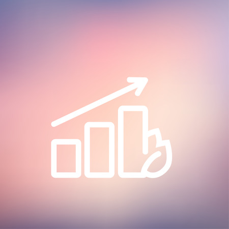 Growing graph icon thin line for web and mobile, modern minimalistic flat design. Vector white icon on gradient mesh background.