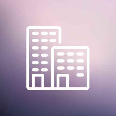 Office buildings icon thin line for web and mobile, modern minimalistic flat design. Vector white icon on gradient mesh background. Vector