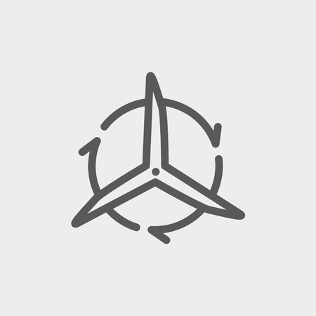 spinning windmill: Windmill with arrows icon thin line for web and mobile, modern minimalistic flat design. Vector dark grey icon on light grey background. Illustration