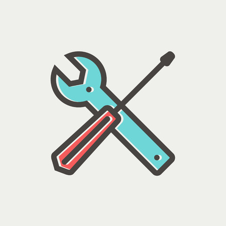 Screw driver and wrench tools icon thin line for web and mobile, modern minimalistic flat design. Vector icon with dark grey outline and offset colour on light grey background.