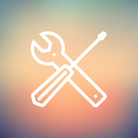 Screw driver and wrench tools icon thin line for web and mobile, modern minimalistic flat design. Vector white icon on gradient mesh background. Illustration