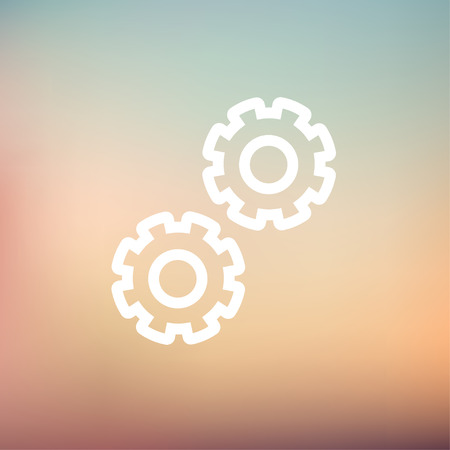 Gears icon thin line for web and mobile, modern minimalistic flat design. Vector white icon on gradient mesh background. 矢量图像