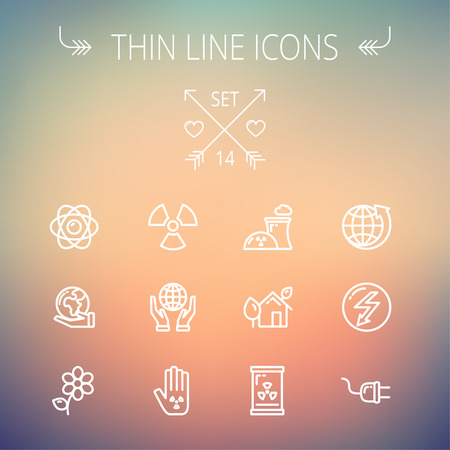 Ecology thin line icon set for web and mobile. Set includes -Palm, global, flower, propeller, atom, plug, arrow icons. Modern minimalistic flat design. Vector white icon on gradient mesh background.