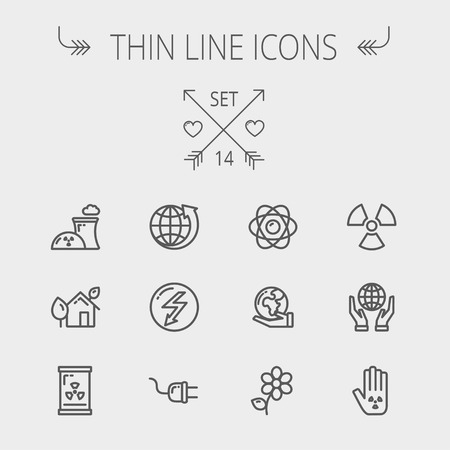 energies: Ecology thin line icon set for web and mobile. Set includes- Palm, global, flower, propeller, atom, plug, arrow icons. Modern minimalistic flat design. Vector dark grey icon on light grey background.