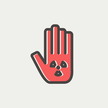 Hand and some object icon thin line for web and mobile, modern minimalistic flat design. Vector icon with dark grey outline and offset colour on light grey background. Иллюстрация