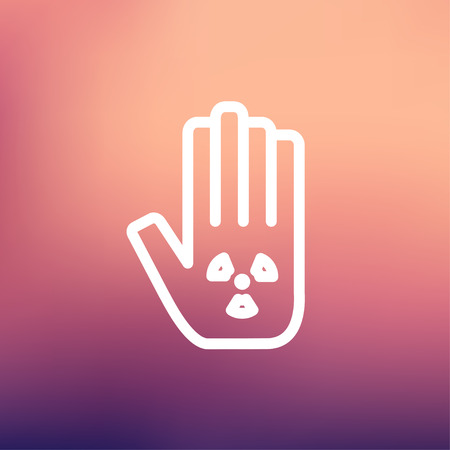 clench: Hand and some object icon thin line for web and mobile, modern minimalistic flat design. Vector white icon on gradient mesh background. Illustration