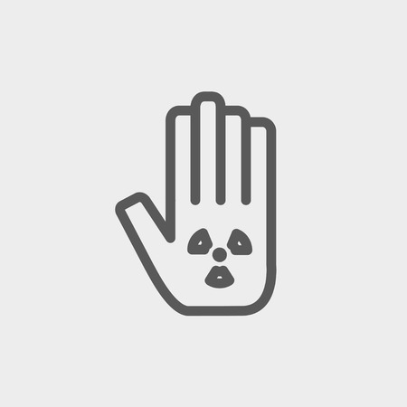 clench: Hand and some object icon thin line for web and mobile, modern minimalistic flat design. Vector dark grey icon on light grey background.