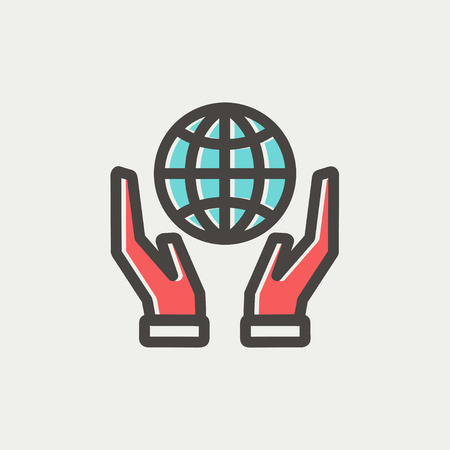hands holding globe: Two hands holding globe icon thin line for web and mobile, modern minimalistic flat design. Vector icon with dark grey outline and offset colour on light grey background.