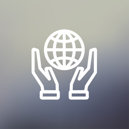 hands holding globe: Two hands holding globe icon thin line for web and mobile, modern minimalistic flat design. Vector white icon on gradient mesh background. Illustration