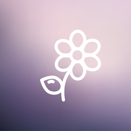 Flower icon thin line for web and mobile, modern minimalistic flat design. Vector white icon on gradient mesh background. Vector